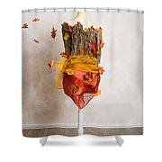 Autumn Mannequin With Falling Leaves Shower Curtain