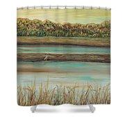 Autumn Marsh And Bird Shower Curtain