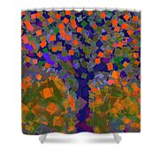 Autumn Message Tree Shower Curtain