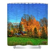 Autumn Moon Rising Shower Curtain