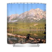 Autumn Morning At Pyramid Mountain Shower Curtain