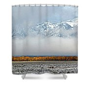 First Autumn Snow In The Mountains Shower Curtain
