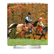 Autumn On Horseback Shower Curtain