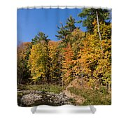 Autumn On The Riverbank - The Changing Forest Shower Curtain