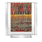 Autumn Pond And Lily Pads Poster Shower Curtain