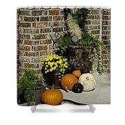 Autumn Porch Scene Shower Curtain