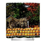 Autumn Pumpkins And Cornstalks Graphic Effect Shower Curtain