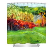 Autumn Reds Shower Curtain by Lenore Gaudet