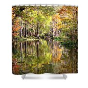Autumn Reflection On Florida River Shower Curtain by Carol Groenen