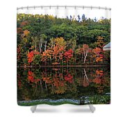 Autumn Reflections And Cabin On Baker Pond Shower Curtain