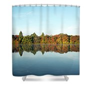 Autumn Reflections At Belmont Lake Shower Curtain
