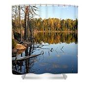 Autumn Reflections On Little Bass Lake Shower Curtain