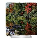 Autumn River Landscape Shower Curtain