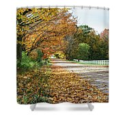Autumn Road With Fence  Shower Curtain