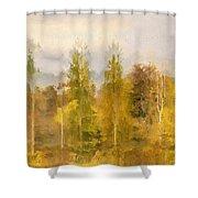 Autumn Shear Poplars Shower Curtain