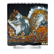 Autumn Squirrel Shower Curtain