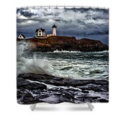 Autumn Storm At Cape Neddick Shower Curtain
