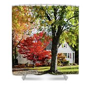 Autumn Street With Red Tree Shower Curtain