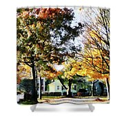 Autumn Street With Yellow House Shower Curtain