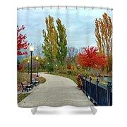 Autumn Stroll In The Park Shower Curtain