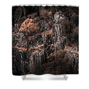 Autumn Trees Growing On Mountain Rocks Shower Curtain