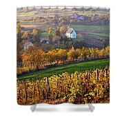 Autumn View Of Church On The Rural Hills Shower Curtain