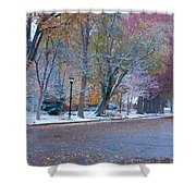 Autumn Winter Street Light Color Shower Curtain