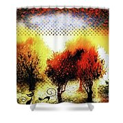 Autumn With Cat Focus Shower Curtain