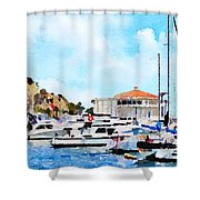 Avalon Casino Harbor, Catalina Shower Curtain