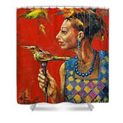Aviary Queen Shower Curtain