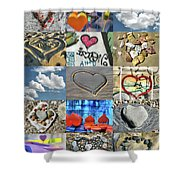 Awesome Hearts - Collage Shower Curtain