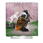 Awesome Village Woman Realistic Painting Shower Curtain
