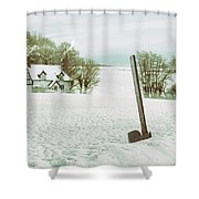 Axe In Snow Scene Shower Curtain