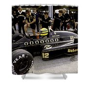 Ayrton Senna. 1986 German Grand Prix Shower Curtain