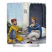 Ayurvedic Medical Practitioner Taking Shower Curtain