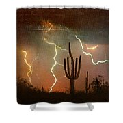 Az Saguaro Lightning Storm Shower Curtain