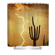 Az Saguaro Lightning Storm V Shower Curtain
