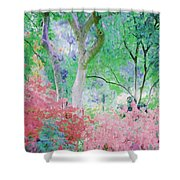 Azalea Flowers And Tree Coral  Shower Curtain