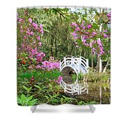 Azaleas And Bridge In Magnolia Lagoon Shower Curtain