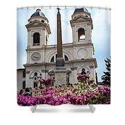 Azaleas On The Spanish Steps In Rome Shower Curtain