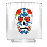 Aztec Inspired Sugarskull Shower Curtain