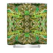 Aztec Kaleidoscope - Pattern 009 - Dark Olive Shower Curtain
