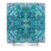 Aztec Kaleidoscope - Pattern 018 - Ocean Shower Curtain