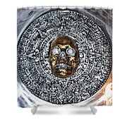 Aztec  Mayan Skull Warrior Calendar Relief Photo Shower Curtain