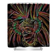 Aztec Skull Warrior Shower Curtain