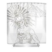 Aztec Warrior In Front Of Chicchen Itza Shower Curtain