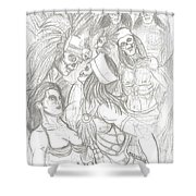 Aztec Warriors With Female Shower Curtain