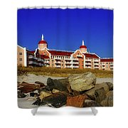 Azure And Coral Shower Curtain
