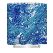Azure Transfusions Of Ocean Waves Fragment  Shower Curtain