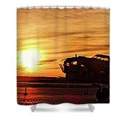 B 17 At Sunset Shower Curtain